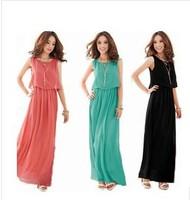IN STOCK!European and American bohemian seaside summer beach dress solid 4 colors sleeveless chiffon long paragraph long dress