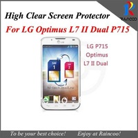 10pcs/lot P715 screen film protector,For LG Optimus L7 II dual P715 high clear screen guard cover,retail packing,mix model