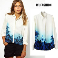 JYL FASHION 2014 Spring/Summer New blue flower printed on bottoms european style fashion women's shirt,long sleeve blusa chiffon