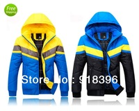 2013 Fashion Winter high quality cotton-padded Men's Clothing jacket thickening wadded jacket  cotton coat 2Colors Free shipping