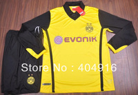 13/14 Borussia Dortmund Champions League long sleeve soccer jersey kits, best quality football uniforms,custom free
