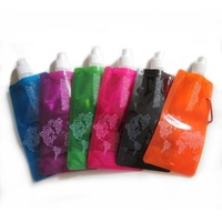 E0236 480ml Water Bottles Portable Folding Plastic Water Bag for Outdoor Mountain Climbing Camping Hiking Travel 5PCS/LOT