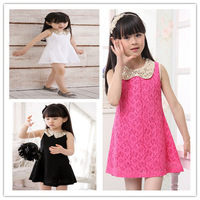 Lovely Girls dress Summer 2013 Children's Baby Kids Sequins Collar flower Sleeveless Vest Lace Princess Dress Black White Rose