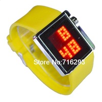 NEW LED Digital Watch With Rubber Watchband Red Light (Yellow)
