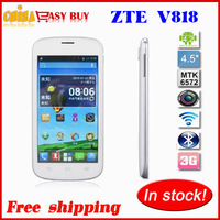 100% original ZTE V818 4.5inch Android4.2 Dual Core 1.3Ghz  MTK6572 512M RAM 4G ROM 3.0Mp 850x480 3G smart phone free shipping
