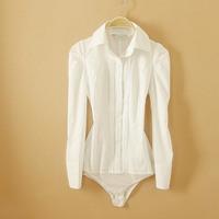 New Arrival Fashion Women Elegant OL Long Sleeve vertical white Shirt one-piece shirt novelty body blouse WSH-093