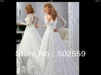 MO-02 lace sleeves V-neck wedding dress