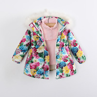 Kids Free Shipping Girls big flower garden full of Indian cotton sherpa Children's padded waist Cotton-padded jacket