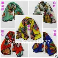 Chiffon big squares sunflower printed velvet chiffon scarves, scarves shawls