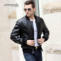 2014 New Men's Genuine Leather Jacket, Sheepskin, High Quality, XL-4XL, black, EMS Free Shipping