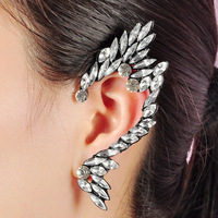 girls Punk Metal WHITE Crystal Spike wing Ear Cuff Piercing Chain Earring
