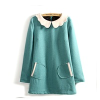 2013 ol elegant petals peter pan collar woolen long slip one-piece dress female