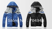 New Arrival Warm Winter Down Coat Men's Sports And Leisure Cotton Padded jacket Free Shipping Black/Blue
