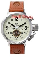 Men Tourbillon Watch Luxury Brand Men Mechanical Hand Wind Watch Men Sports Brown Leather Straps Wristwatches