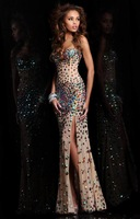New Arrival Hot Sale!! Mermaid Sweetheart Beaded Strapless Floor-length Bling Sexy Chiffon Prom Dresses Party Dress