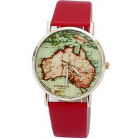 relojes Map Pu Leather zegarek Watches Fashion saat  Strap Sports  watch vintage bracelet  Dropship Wholesale Free Shipping