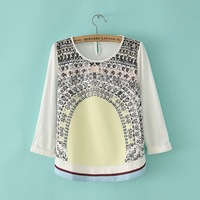 2013 cabinet autumn and winter print colorant match o-neck long-sleeve basic t-shirt print basic shirt