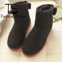 Free Shipping Cheap Bow  Flats Winter  Big Size Platform Snow Boots For Women,Women's Warm Shoes