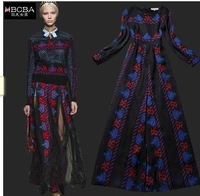 Newest 2014 fashion Runway Maxi Dress High Quality  Elegant printed Expansion Mopping Floor Vintage Long Dress S-L