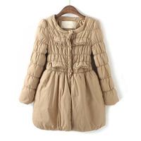 13 OCHIRLY slim medium-long multi-pocket princess dress wadded jacket cotton-padded jacket female small