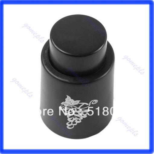 New Red Wine Storage Bottle Stopper Reusable Vacuum Sealed Plug Bottle Cap Black(China (Mainland))
