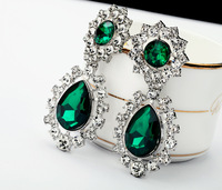 Fashion vintage accessories  emerald gem Women earrings