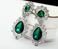 Fashion vintage accessories  emerald gem Women earrings