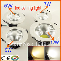 Factory Directly Sales 5W/7W/9W/12W LED COB Ceiling Light lamp Cool White/Warm White LED Down Light led bulbs lamps 2014 new
