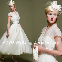 2014 Fashion Vintage Little Ball Gown Cap Sleeve Ankle-Length Ivory Organza Princess Wedding Dress
