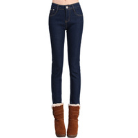 New Arrival Winter Thickening Velvet Jeans Woman Plus Size Jeans With Fleece Skinny Sexy Pencil Pants Thermal PT-075