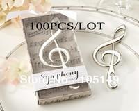 "Unique Wedding Favors ""Symphony"" Chrome Music Note Bottle Opener wedding gift wholesale 100pcs/lot Free shipping stronge packing"