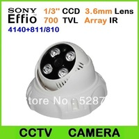 700TVL Sony Effio-e 4140+811/810 dome camera 1/3'' CCD 3.6mm Lens 4pcs Array IR Leds CCTV dome camera , Free Shipping