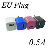 0.5A European Plug AC USB Wall Charger Adapter  500pcs/lot
