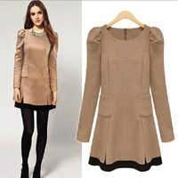2014 fashion wool autumn one-piece dress basic long-sleeve woolen dress long sleeve dresses winter dress women AS1028