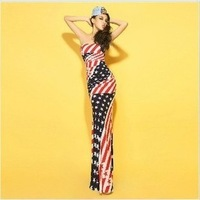 Free Shipping ! Hot Sales Europe Style with Big Flag Mixed Colors Empire Floor-Length and Trumpet Sexy Dress