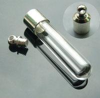 5 pcs6MM Round Bottom Tube (Preglued silver-plated screw caps),Wish Vials,mini glass bottle pendant,rice jewelry vials