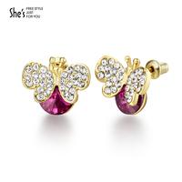 Shes accounterment fashion full rhinestone butterfly earring elegant ol imitation crystal alloy stud earring