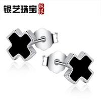 Silver art jewelry 925 pure silver male stud earring black cross fashion single earring personalized