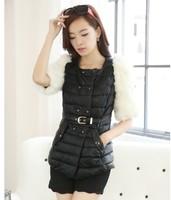 Женская одежда из меха 2013Korean autumn winter luxury fashion medium-long faux fur waistcoat imitation fox fur vest sleeve jacket women S/M/L/XL D2157