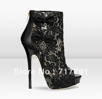 Sexy Summer Dress Shoes Gladiator High Heel Sandal Boot Women Ankle Shoes Hollow-out Club Women Pumps