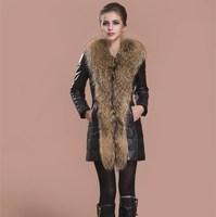 2013 fashion womens Genuine leather coat sheepskin leather down coat slim fur fox coats for women winter coat outerwear