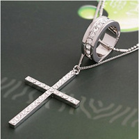 Free shipping 2014 Accessories silver full rhinestone cross  long design necklace female