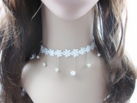 Free shipping Flower the bride white lace necklace female collapsibility necklace