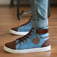 Autumn male high-top shoes skateboarding shoes male high canvas shoes male fashion rivet boys shoes