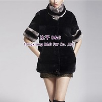 BG60405 New Fashion Genuine Rex Rabbit Fur Jacket  Wholesale Retail Winter Women Fur Jacket