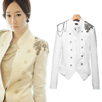 2014NEW FASHION Blazers Women double-breasted Collar Suit Jackets Women Napoleon epaulettes Short Coat  free drop shipping