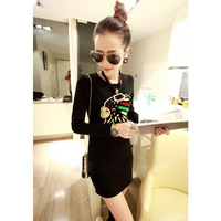 2014 new fashion women winter spring casual yarn knitted thickening elegant print slim basic long sleeve one-piece dress