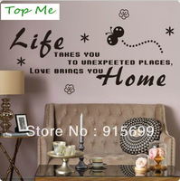 Life takes you to unexpected Love Brings You Home Wall Quote Decal Vinyl Sticker TM8160