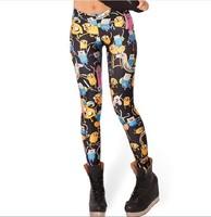 New Arrival! HOT DALE Adventure Time Montage Black Leggings fashion new women Digital print bandage Galaxy Pants K215