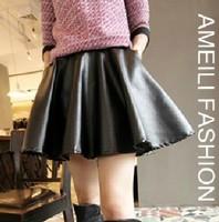 2014 Leather Skirt Women Faux Leather Skirts Mini Skirts Black Fashion Women Skirt Leather